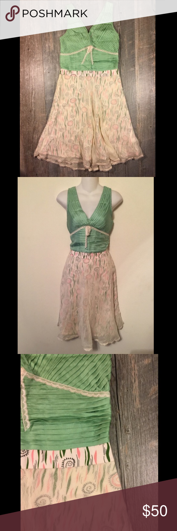 Green dress with lace overlay  Anthropologie Snak green pleated u lace dress  My Posh Picks