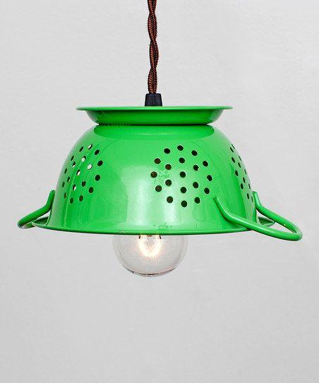 Flea Market Rx Lime Green Mini Colander Pendant Lamp