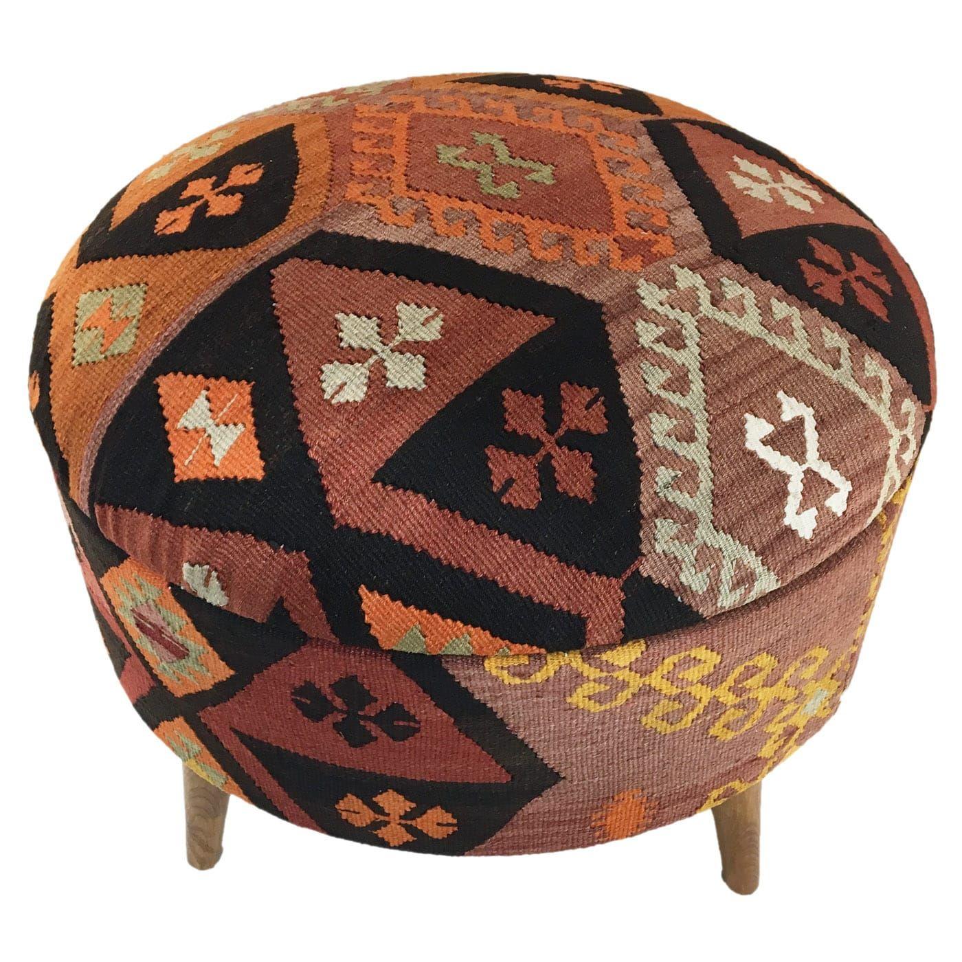 Round Kilim Pouf Large Storage Ottoman Large Storage Ottoman