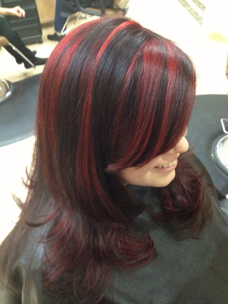 Red With Black Lowlights Diy Highlights Hair Black Hair With Red Highlights Hair Color For Black Hair