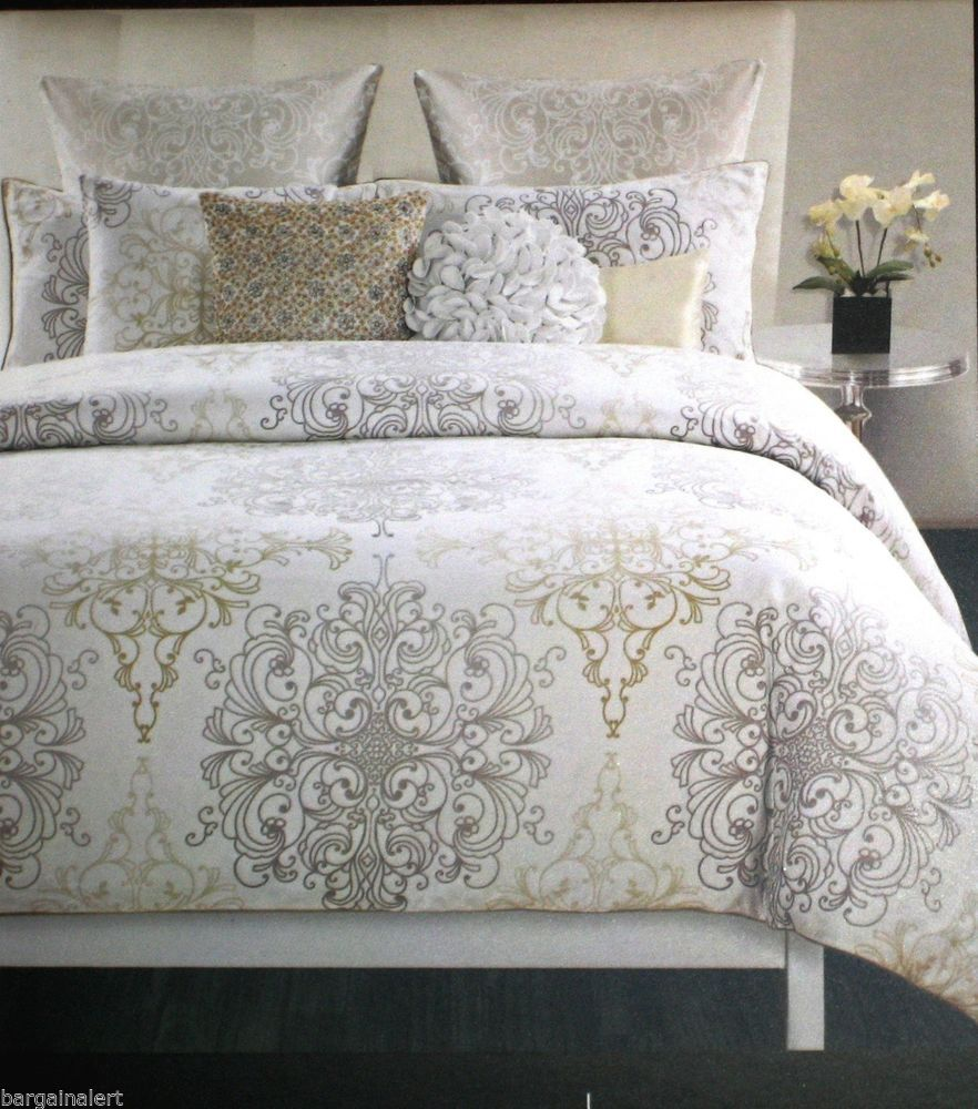 Gold Silver White Medallion King Duvet 3pc Damask Scroll Gold