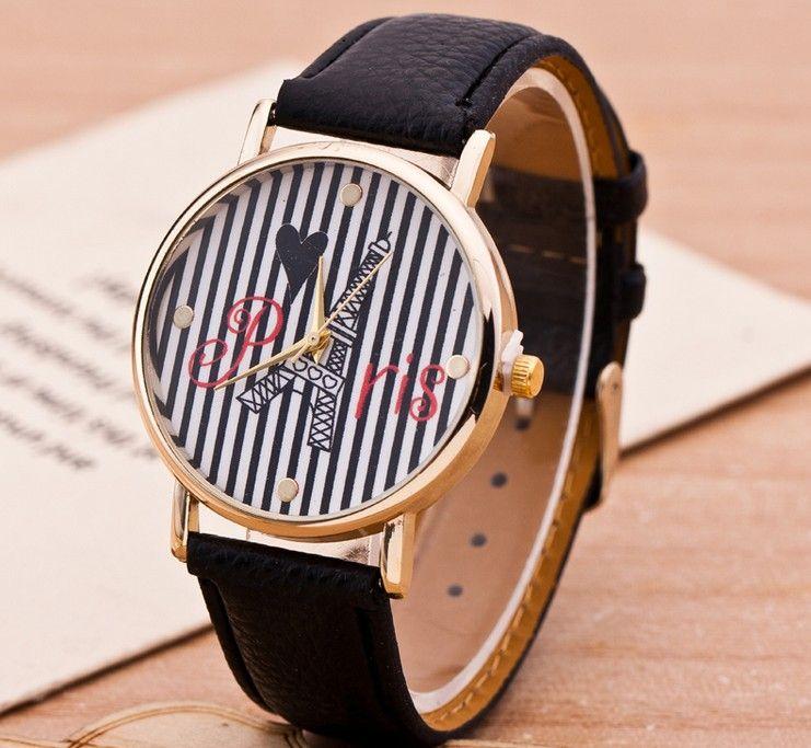 Zegarek Damski Paris Paryz Zloty Paski Leather Watch Leather Wearable
