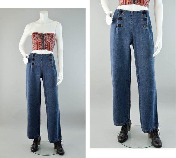 31521ff1bd 90s Liz Claiborne Jeans Vintage, Medium Wash Denim Jeans, 90s Wide Leg Jeans,  Lizwear Sailor Jeans, High Rise Denim Jeans, Women's Size 10