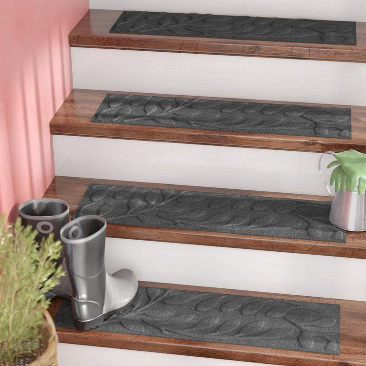 Best Tucker Murphy Pet Beaupre Leaf Charcoal Stair Tread 400 x 300
