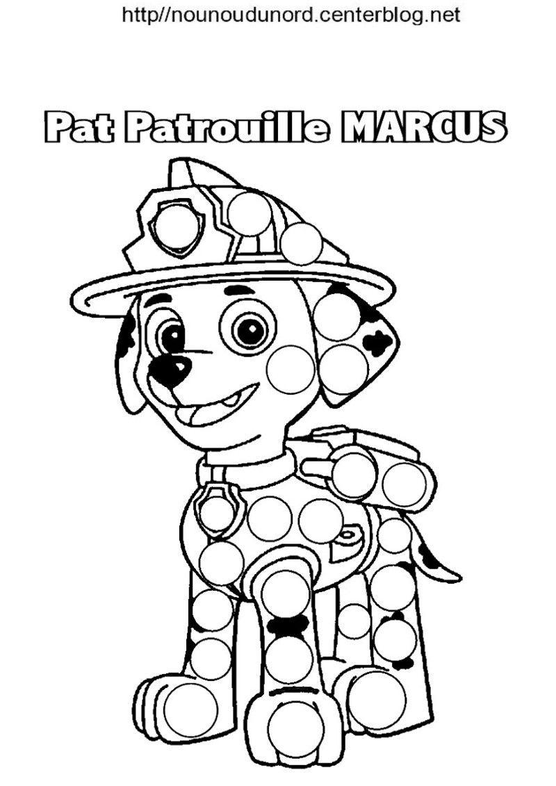 Pat patrouille ryder et marcus coloriage pour les gommettes  Paw