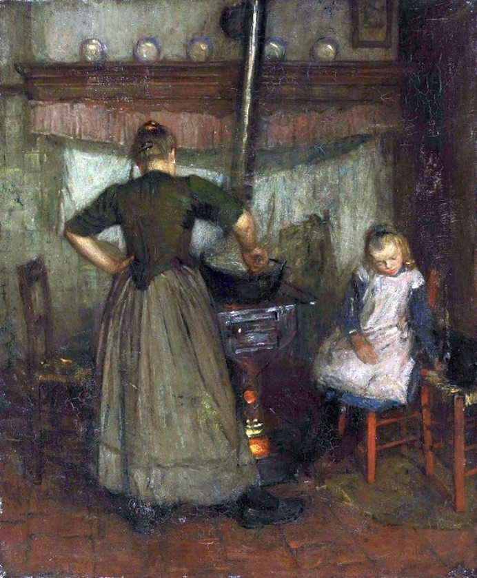 Laura Knight (English painter) 1877 - 1970 - A Mother and Child in a Kitchen, 1905-08