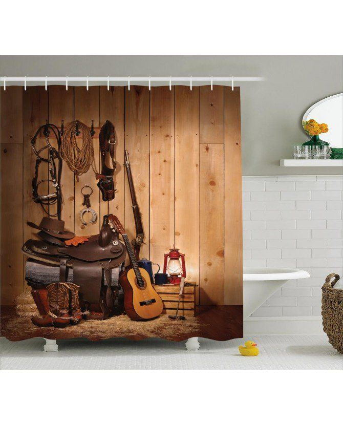 Western Decor Shower Curtain By Ambesonne American Texas Style Country Music Guitar Cowboy Boots USA Folk Culture Fabric Bathroom Set With Hooks