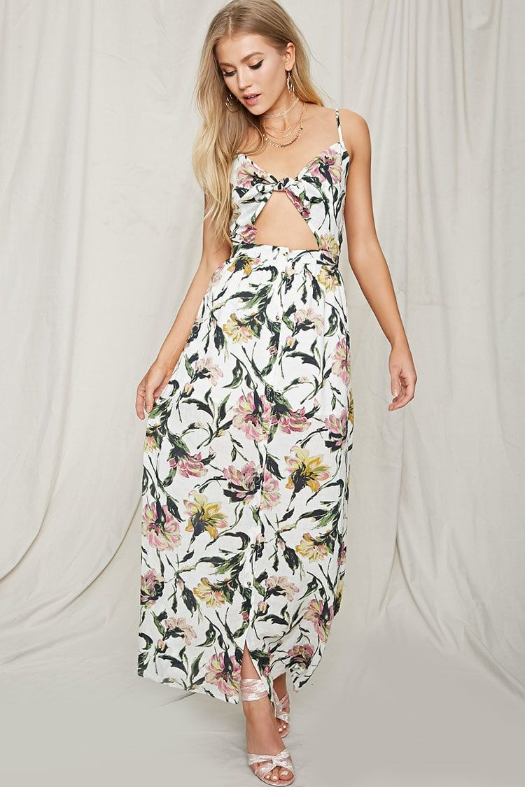 ae0b3268062a Floral Tie-Front Maxi Dress