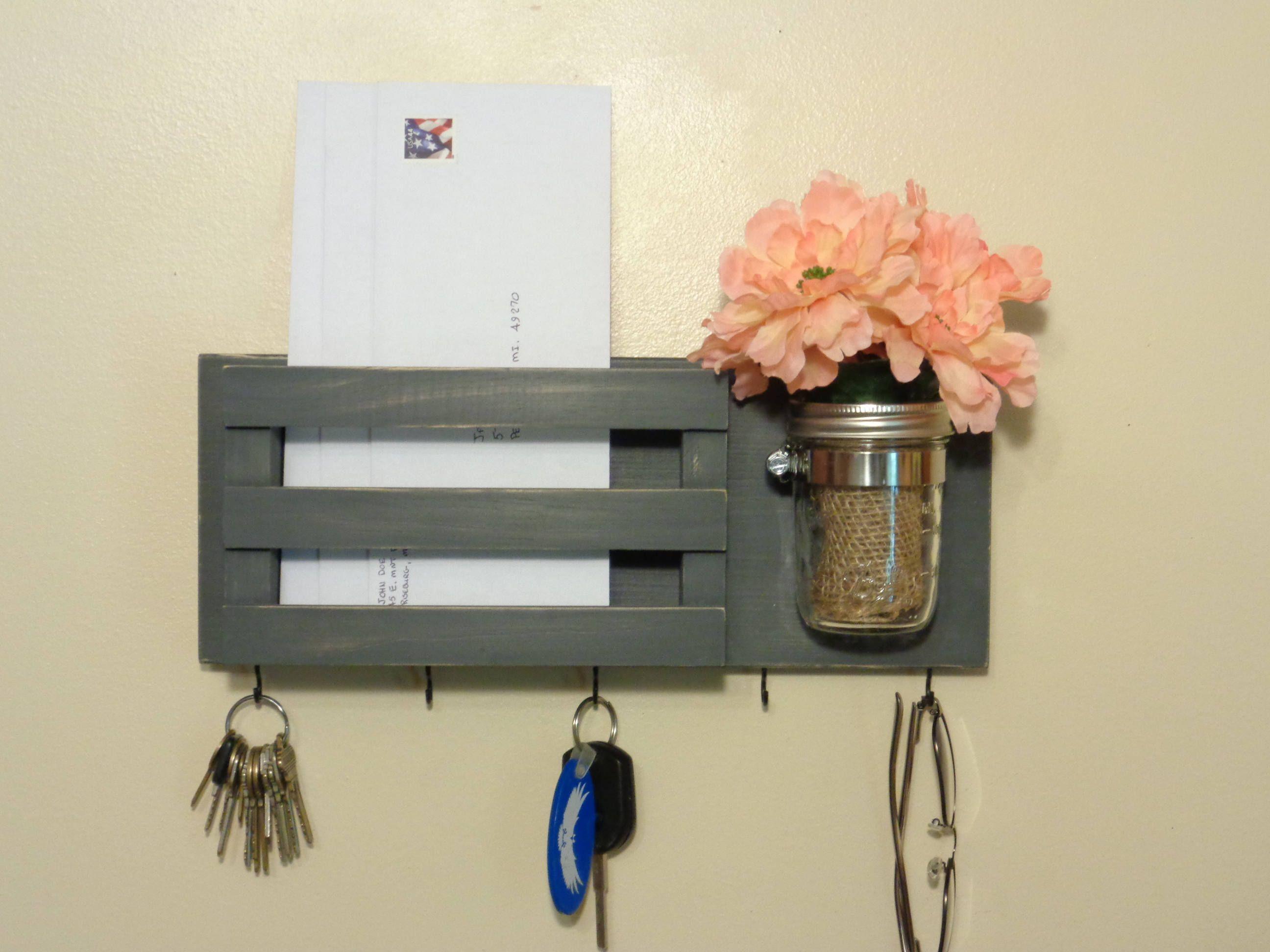 Key Holder Mail Organizer Mail Box Mason Jar Vase
