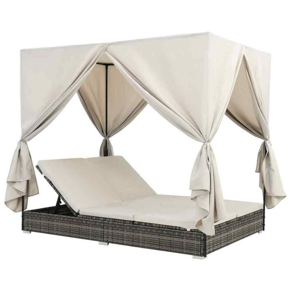 Vidaxl Sonnenliege Mit Vorhangen Poly Rattan Doppelliege Gartenliege Liege Terrassen Bett Sonnenliege Terrassenmobel Kissen