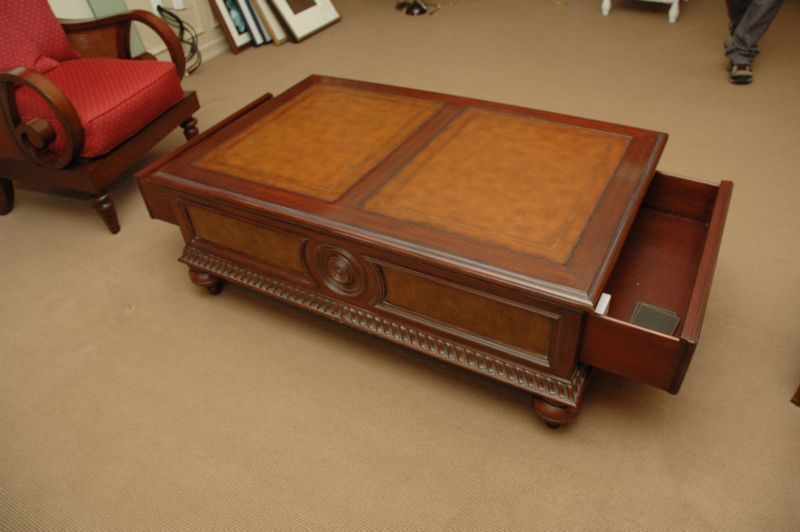 Ethan Allen Wood Coffee Table Faux Leather Top Small Hole And
