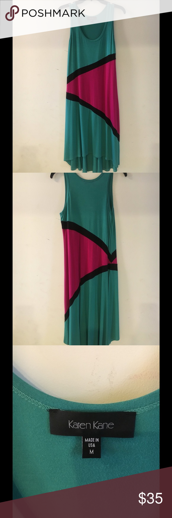 🌸Karen Kane 🌸LOWEST PRICE🌺Color block Dress 👗Karen Kane👗Greenish with magenta (bright pink) and black. New without tags. 🇺🇸MADE IN THE USA🇺🇸Asymmetrical hem. Bought took tag off and never wore.  For measurements please see the Karen Kane size chart included with the pictures. Dresses Asymmetrical