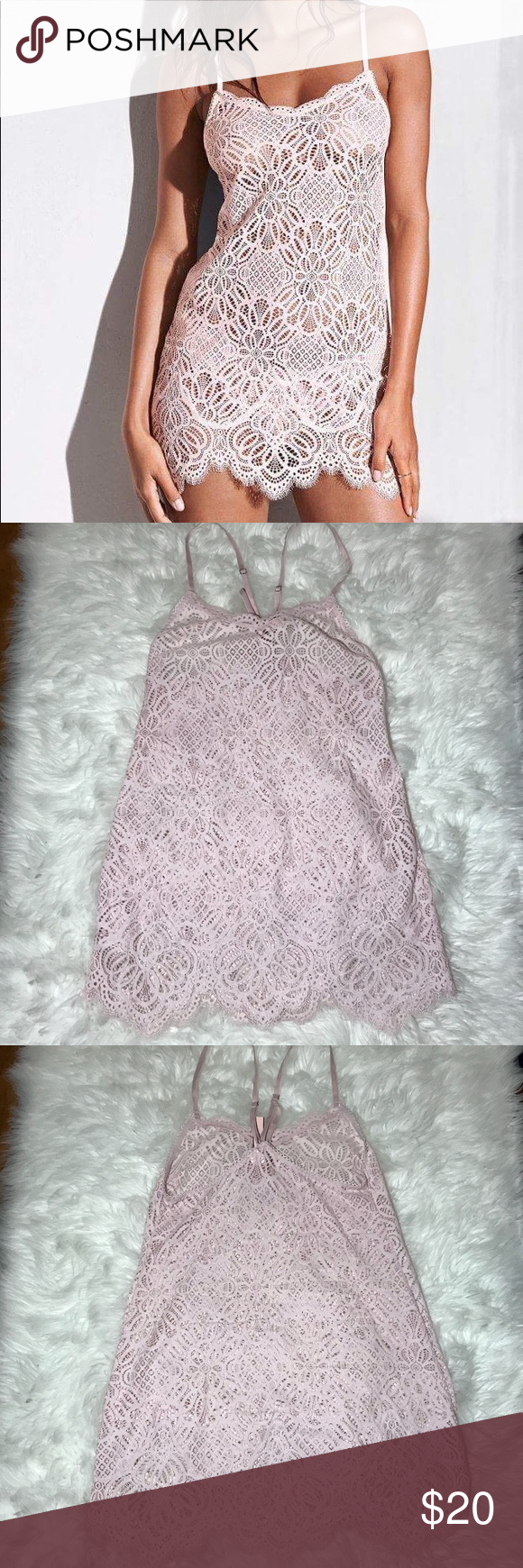 VS Small Lace Slip New, marked as XS then written Small, I assumed it's customer return, or just a mistake,I'm adding pictures with measurements, 14.5 inch and 19 inch(pic 6 and 7), few pen marks inside pic 5; light pink color Victoria's Secret Intimates & Sleepwear Chemises & Slips