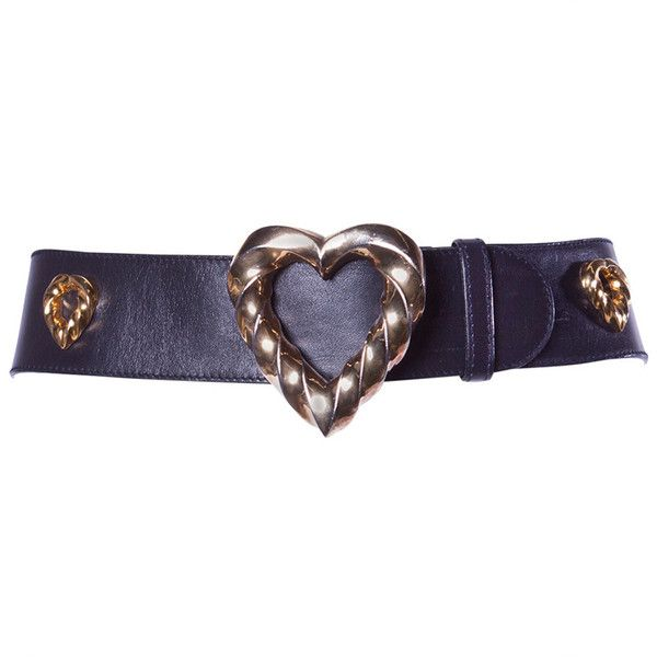 Preowned Iconic Escada Vintage 1980s 80s Black Leather Gold Heart Belt (€205) ❤ liked on Polyvore featuring accessories, belts, jewelry, black, 100 leather belt, real leather belts, escada, escada belt and buckle belt
