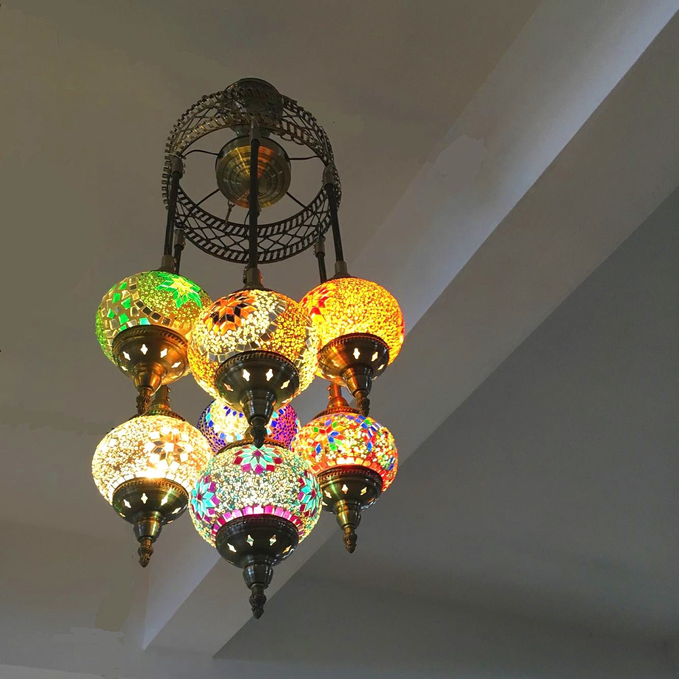 Turkse Marokkaanse Hanglamp Handgemaakte Mozaiek Gebrandschilderde Gang Trappenhuis Cafe Restaurant Opknoping Licht Lamp Turkse Lampen Lampen Hangende Lichten
