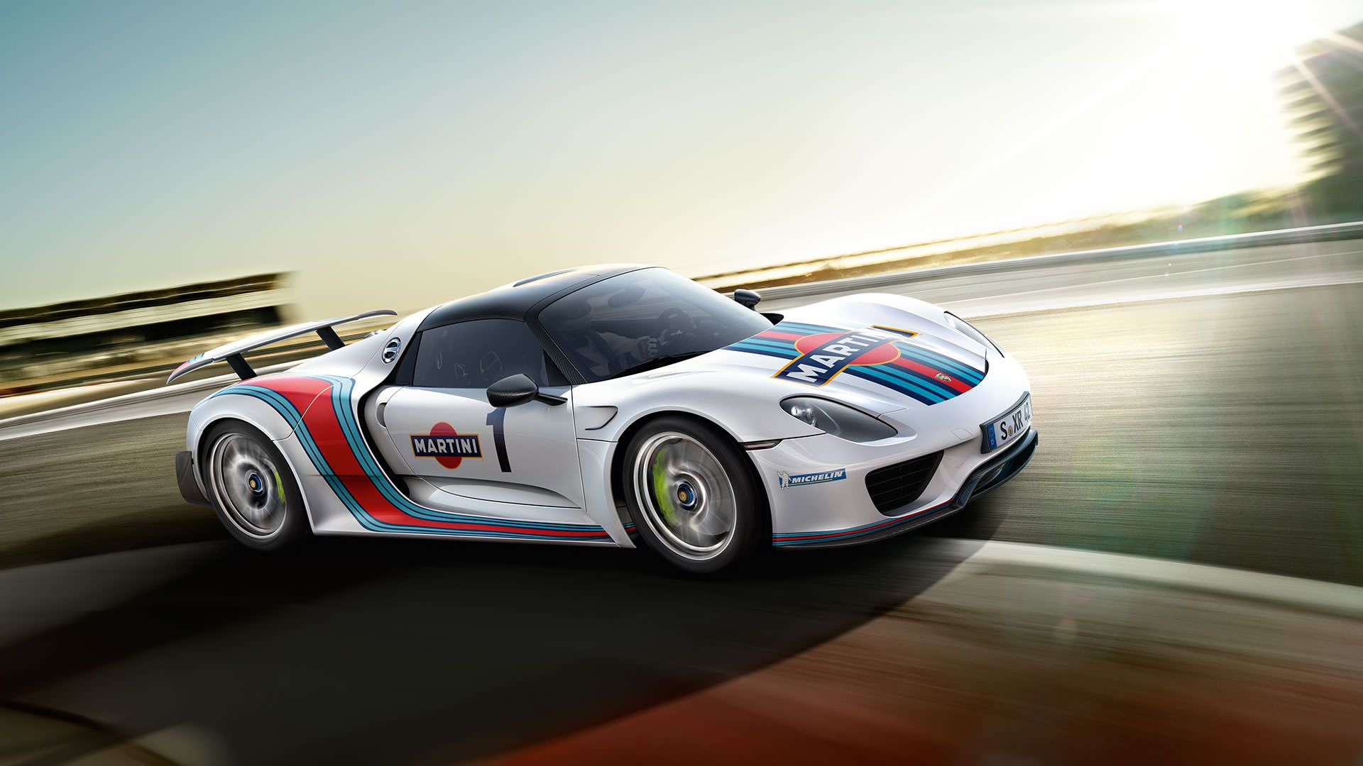 Porsche 918 Spyder using Martini Racing livery side view front angle
