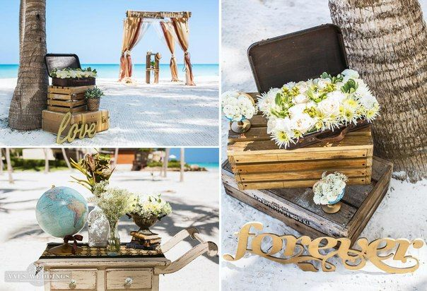 Travel inspired decor for a destination beach wedding in Sunny Dominican Republic.