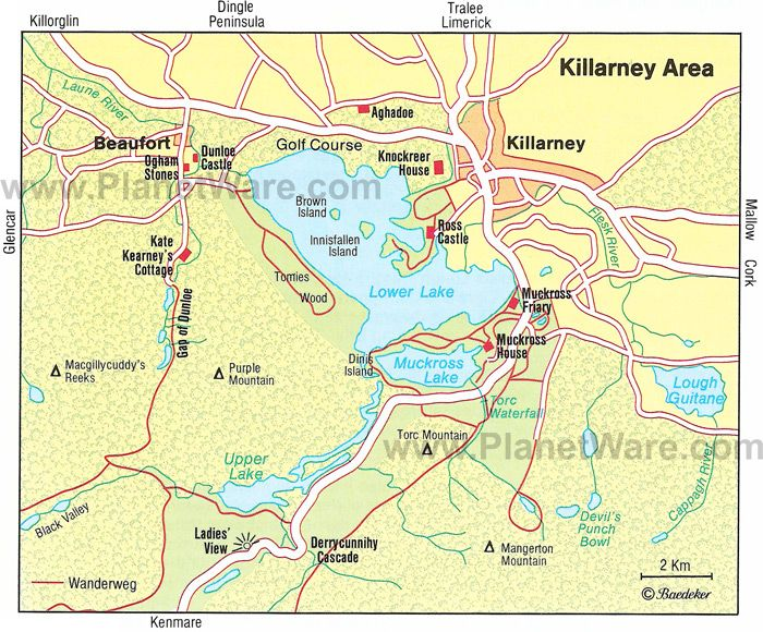 Map Of Ireland With Tourist Sites.Killarney Area Map Tourist Attractions Ireland Mo Chroi