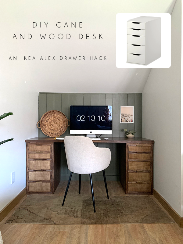 DIY Cane and Wood Desk IKEA Alex Hack | brepurposed in