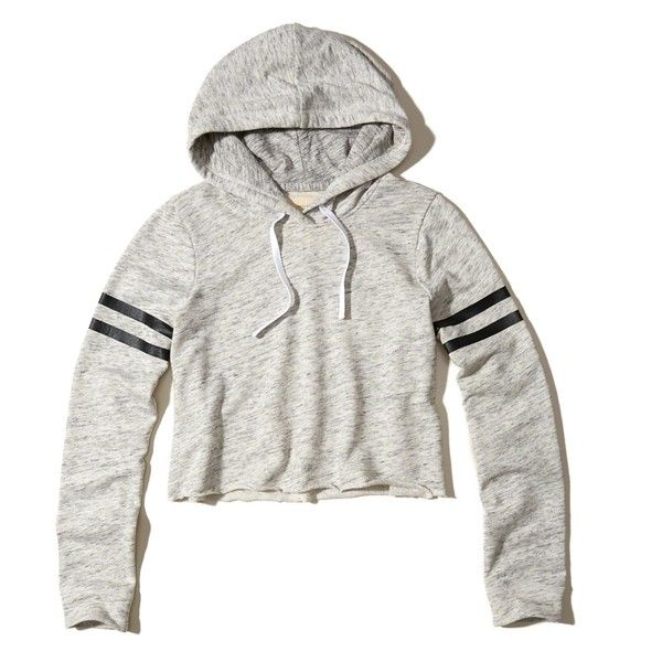 Hollister Logo Graphic Cropped Hoodie ($35) ❤ liked on Polyvore featuring  tops, hoodies, heather grey, pullover hoodies, hooded pullover, sweatshirt  ...
