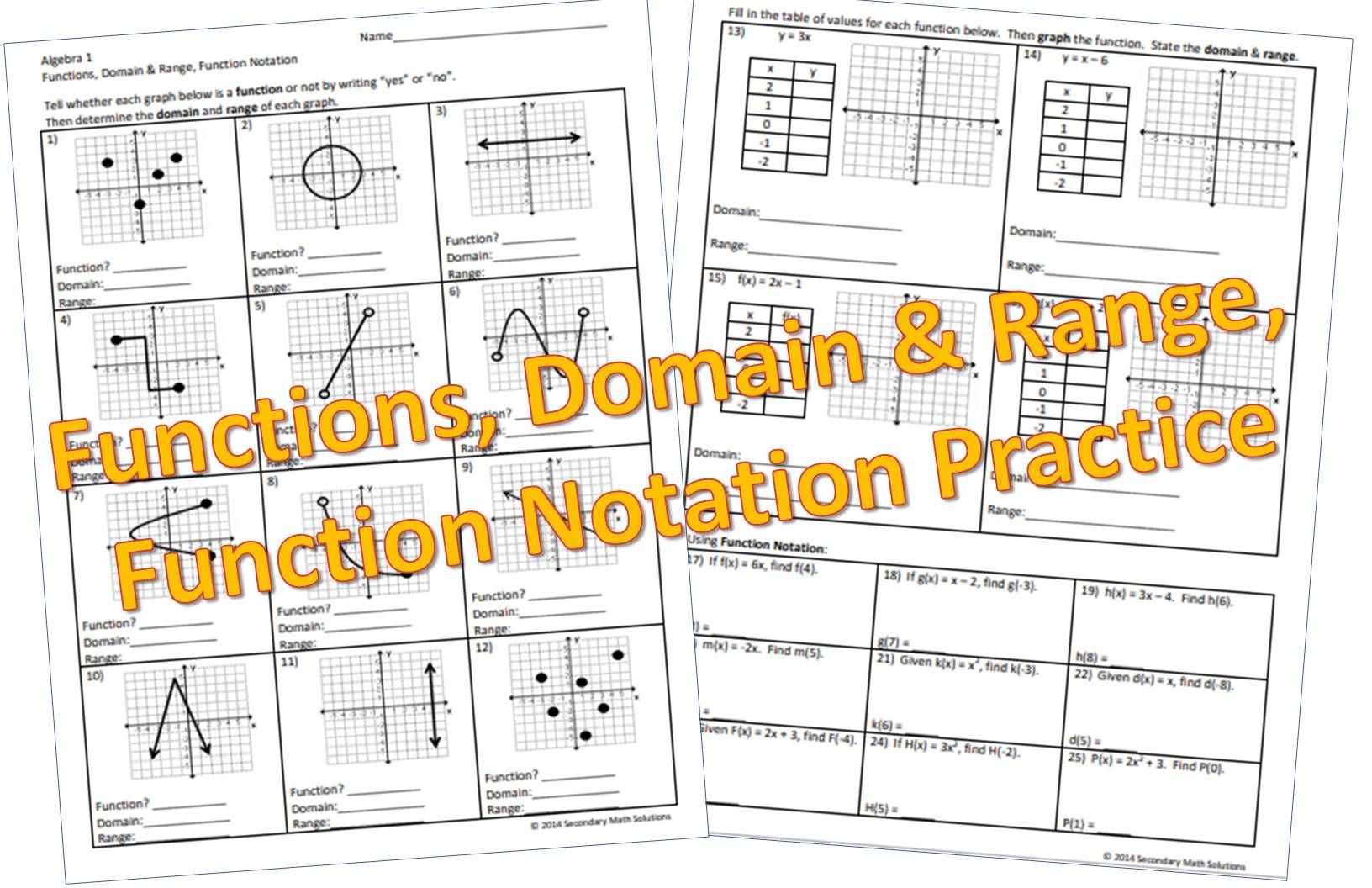 Functions Domain Amp Range Function Notation Practice