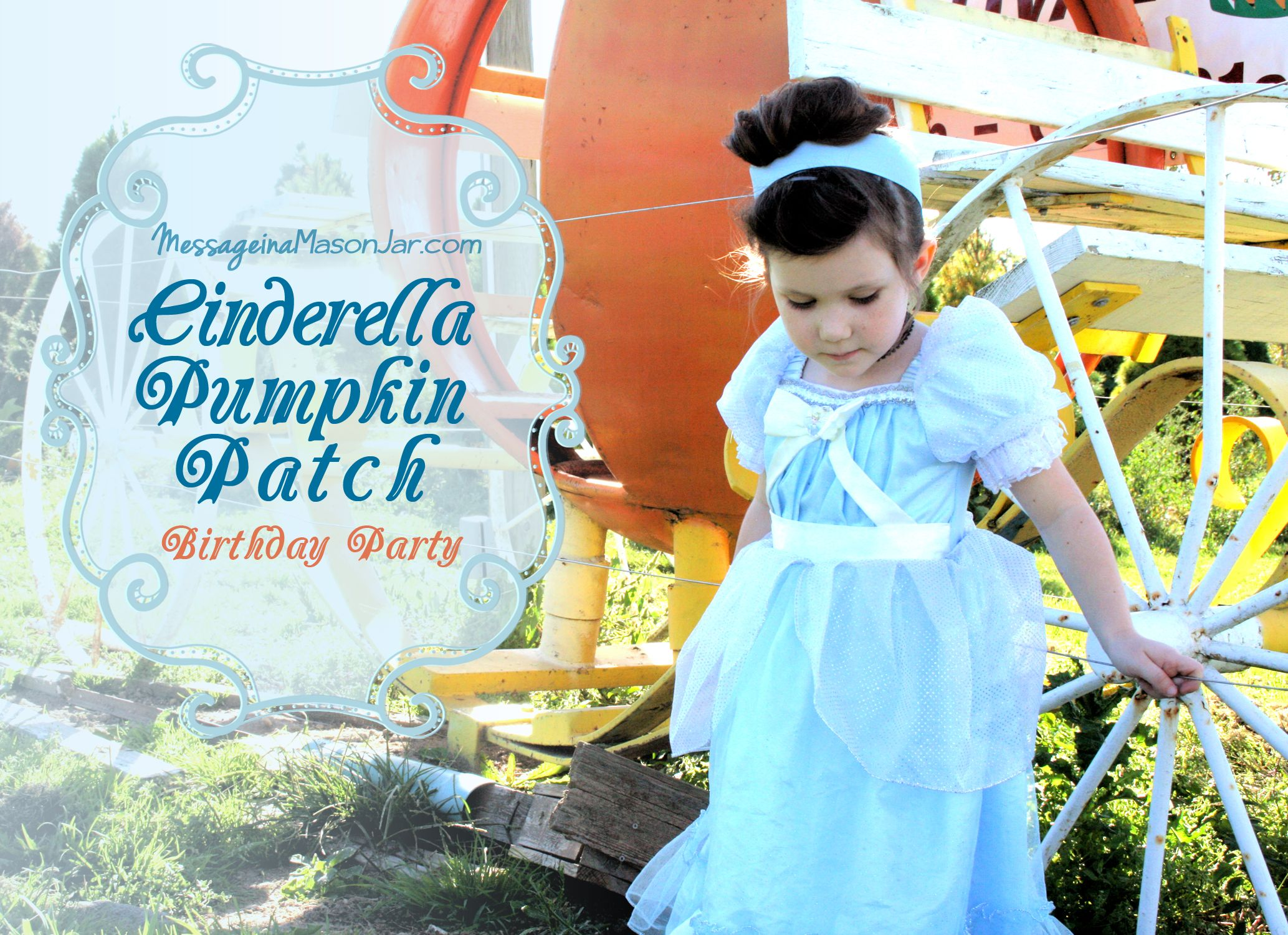 A Cinderella Pumpkin Patch Birthday DIY cardboard castle pumpkin