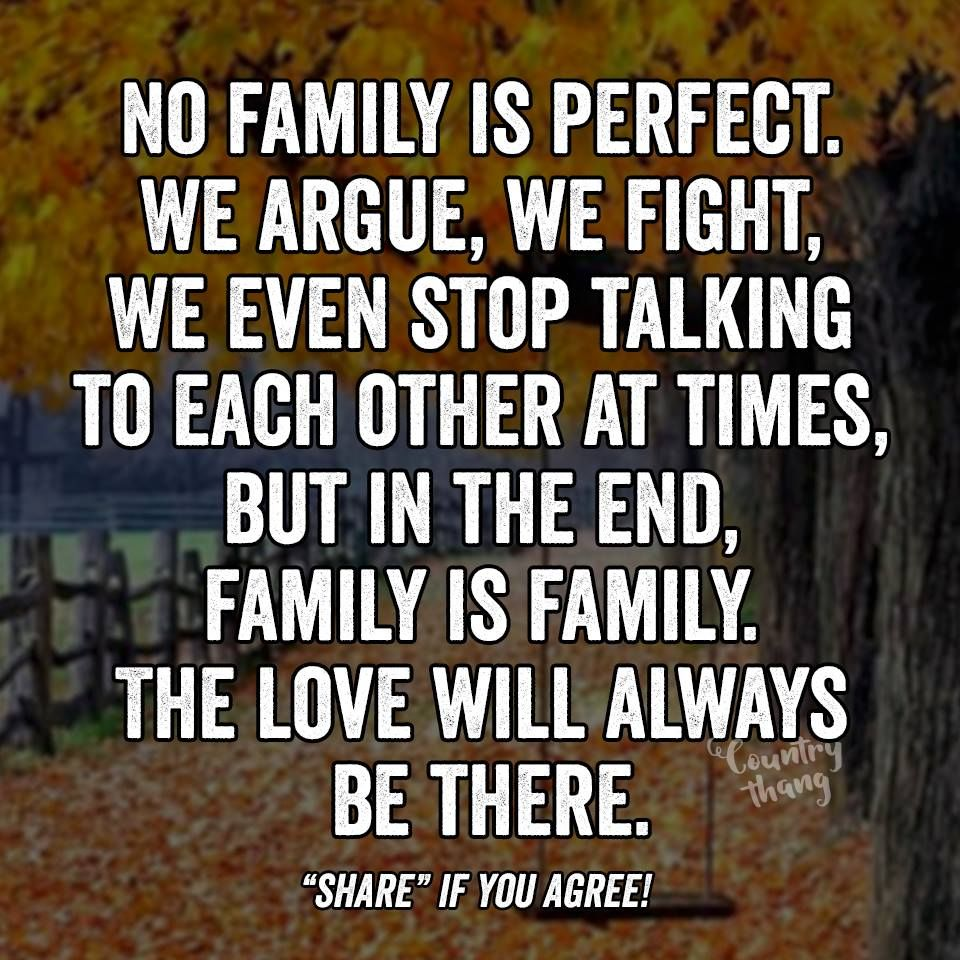 No family is perfect. We argue, we fight, we even stop