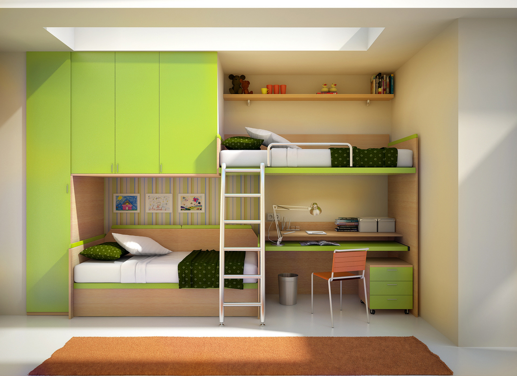 Wood bunk beds with desk - Furniture Green Combine With Natural Wooden Colors Decorating Modern Kids Bedroom That Equipped With Stylish Wardrobe Plus Innovative Kids Bunk Bed