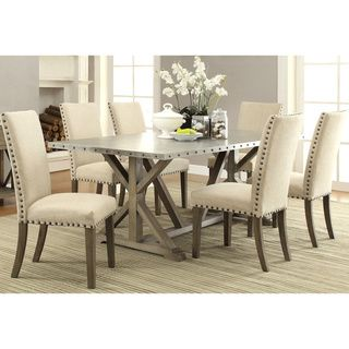 Rosemarin Transitional Driftwood and Metal Dining Set 1 table 6