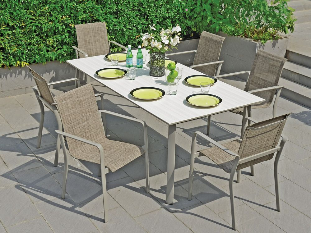 madison sling 7 pc aluminum dining set with 79 x 40 duranite top