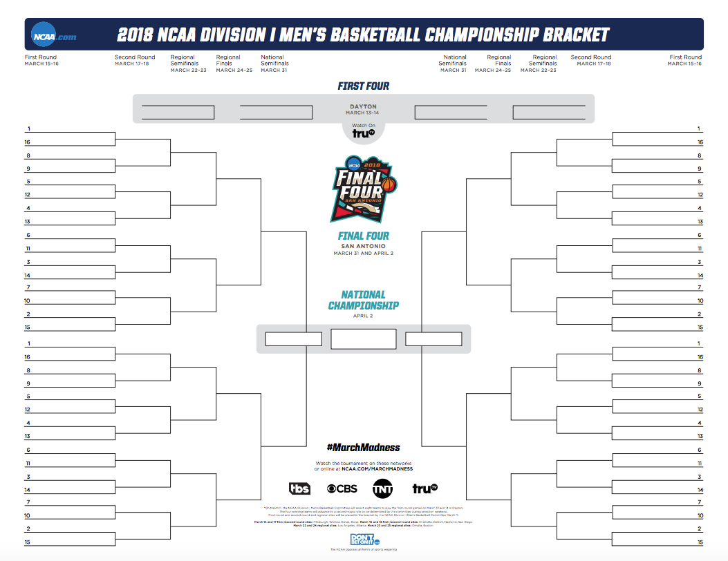 NCAA bracket 2018: Printable March Madness bracket for the men's basketball  tournament | NCAA.
