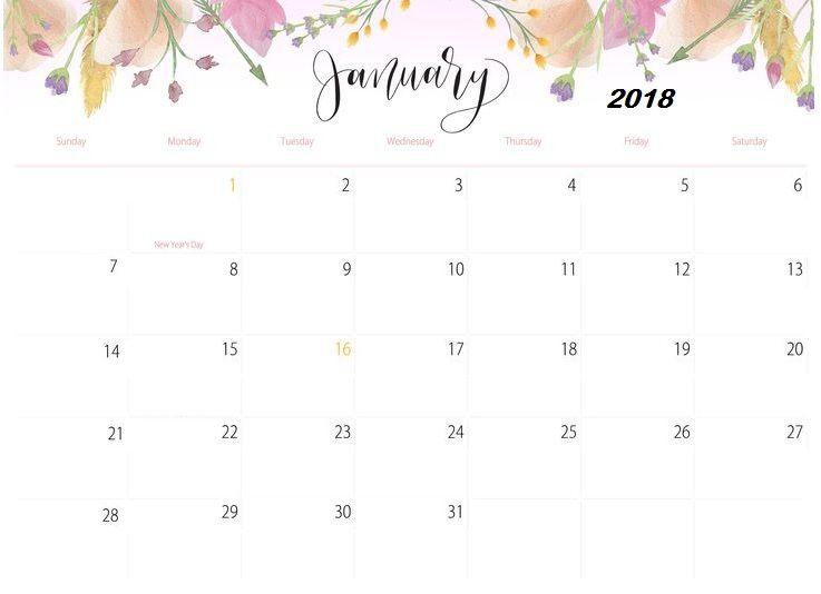 January 2018 Floral Calendar Printable Calendar2018 Pinterest