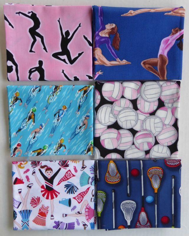 Sports Lovers Fat Quarter Bundle of 6~Group 1~Cotton Fabric
