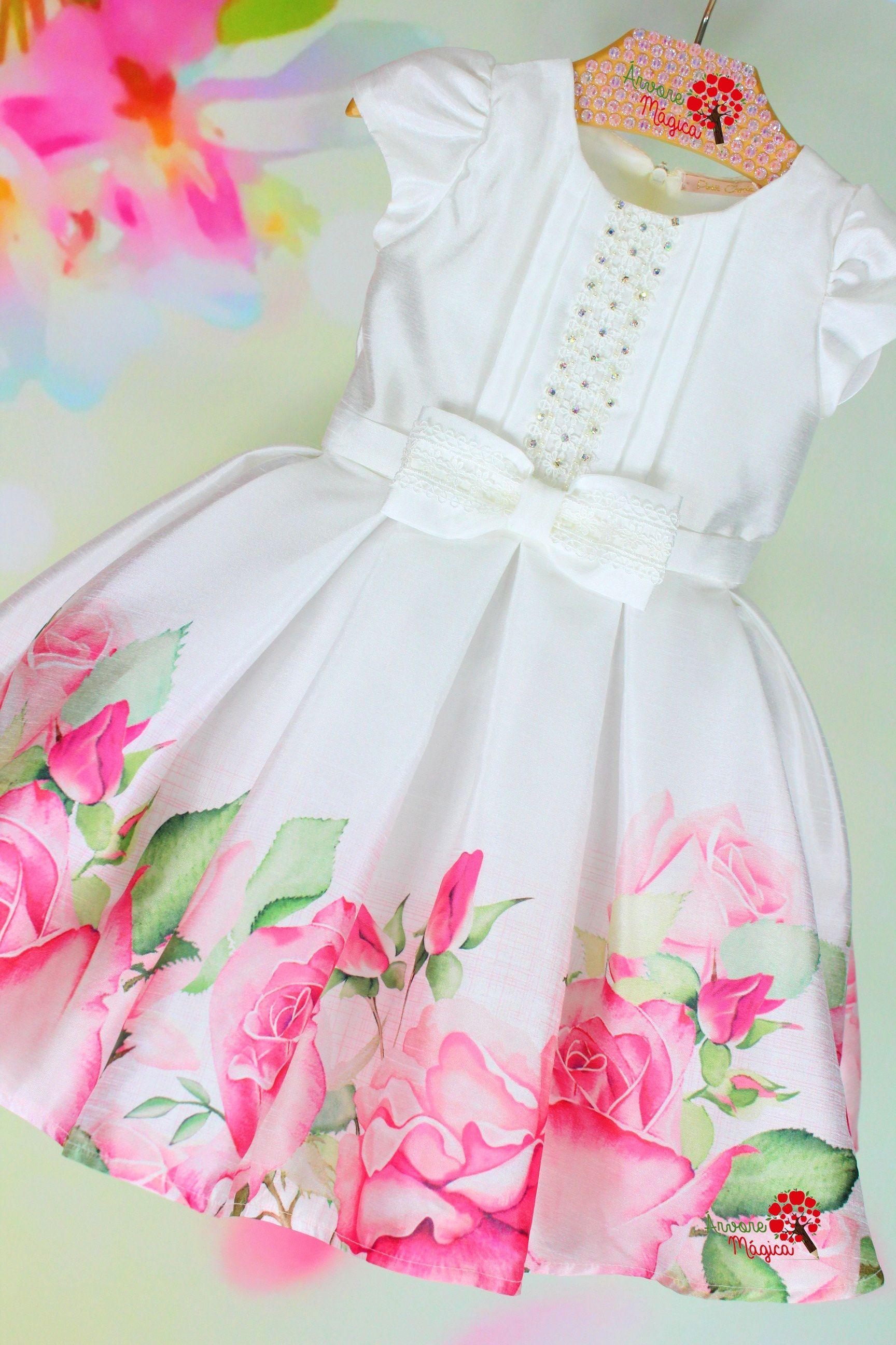 bef8d47f1 Vestido de Festa Infantil Petit Cherie Branco Barra Rosas Pink ...