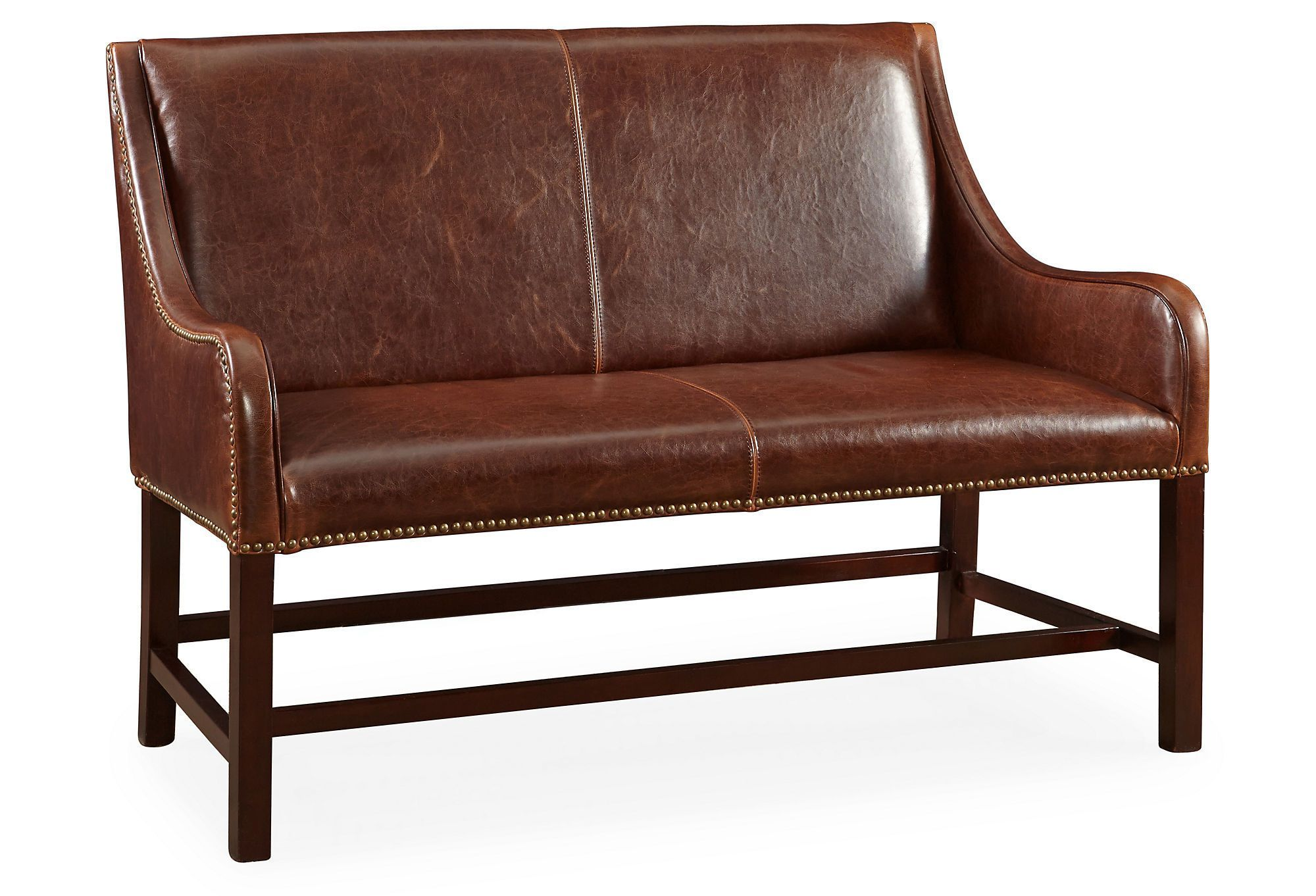 "Machester 46"" Leather Settee Saddle Love the Look"