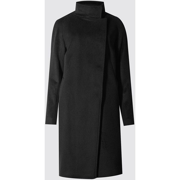 Autograph Wool Blend Funnel Neck Coat (1 195 SEK) ❤ liked on Polyvore featuring outerwear, coats, black, funnel neck coat, black funnel neck coat, wool blend coat, black overcoat and black coat