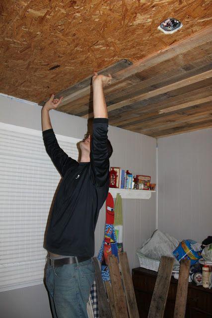 Remodelaholic Rustic Pallet Wood Ceiling Tutorial Pallet