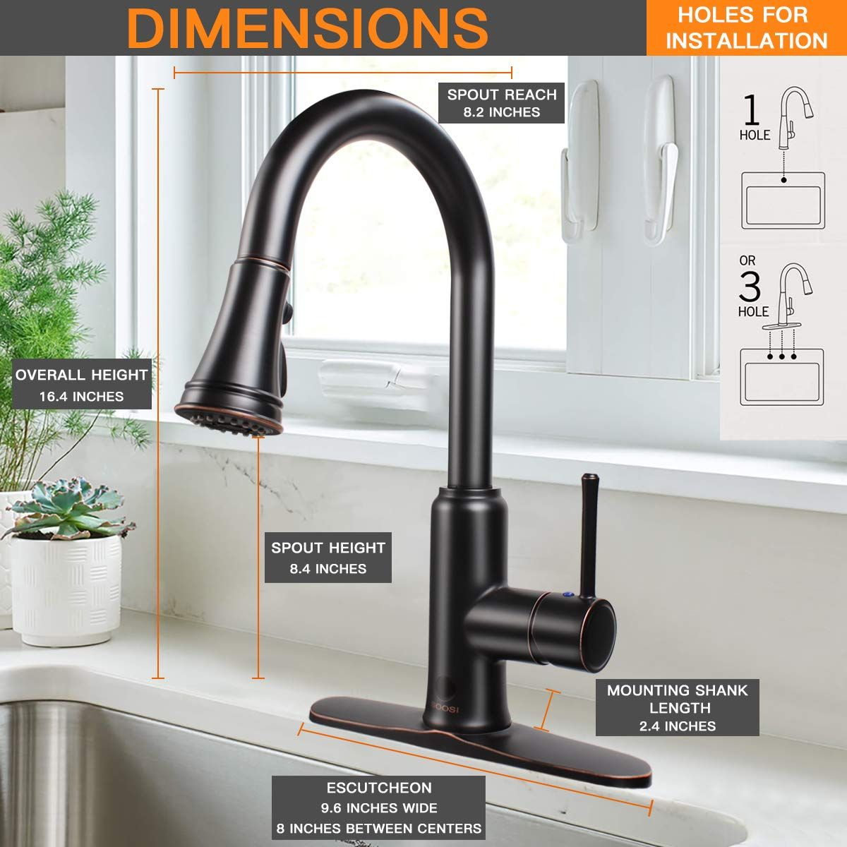 Touchless Kitchen Faucet Soosi Motion Sensor Single Handle One 3