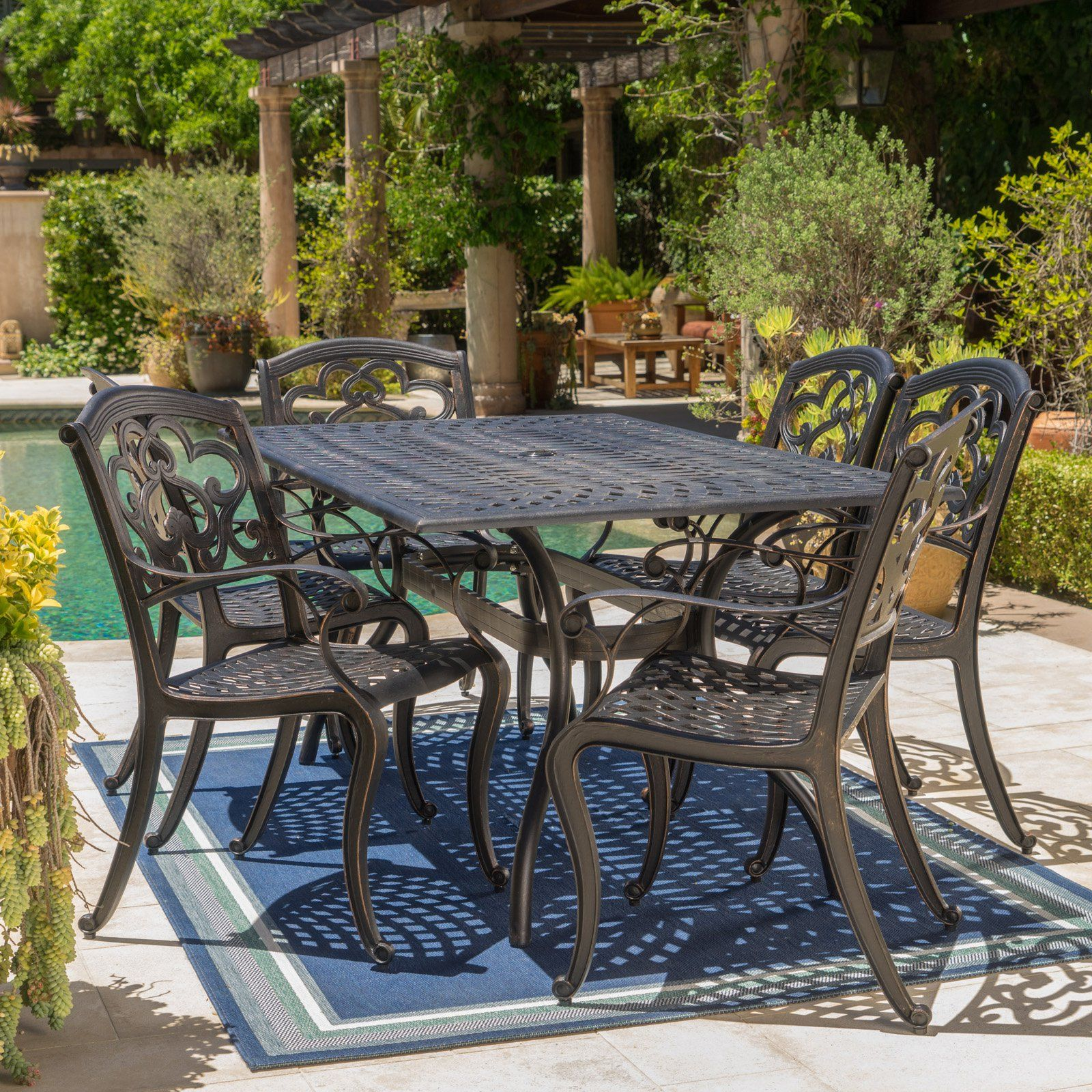 Austin Shiny Copper 7 Piece Outdoor Dining Set Patio Furniture