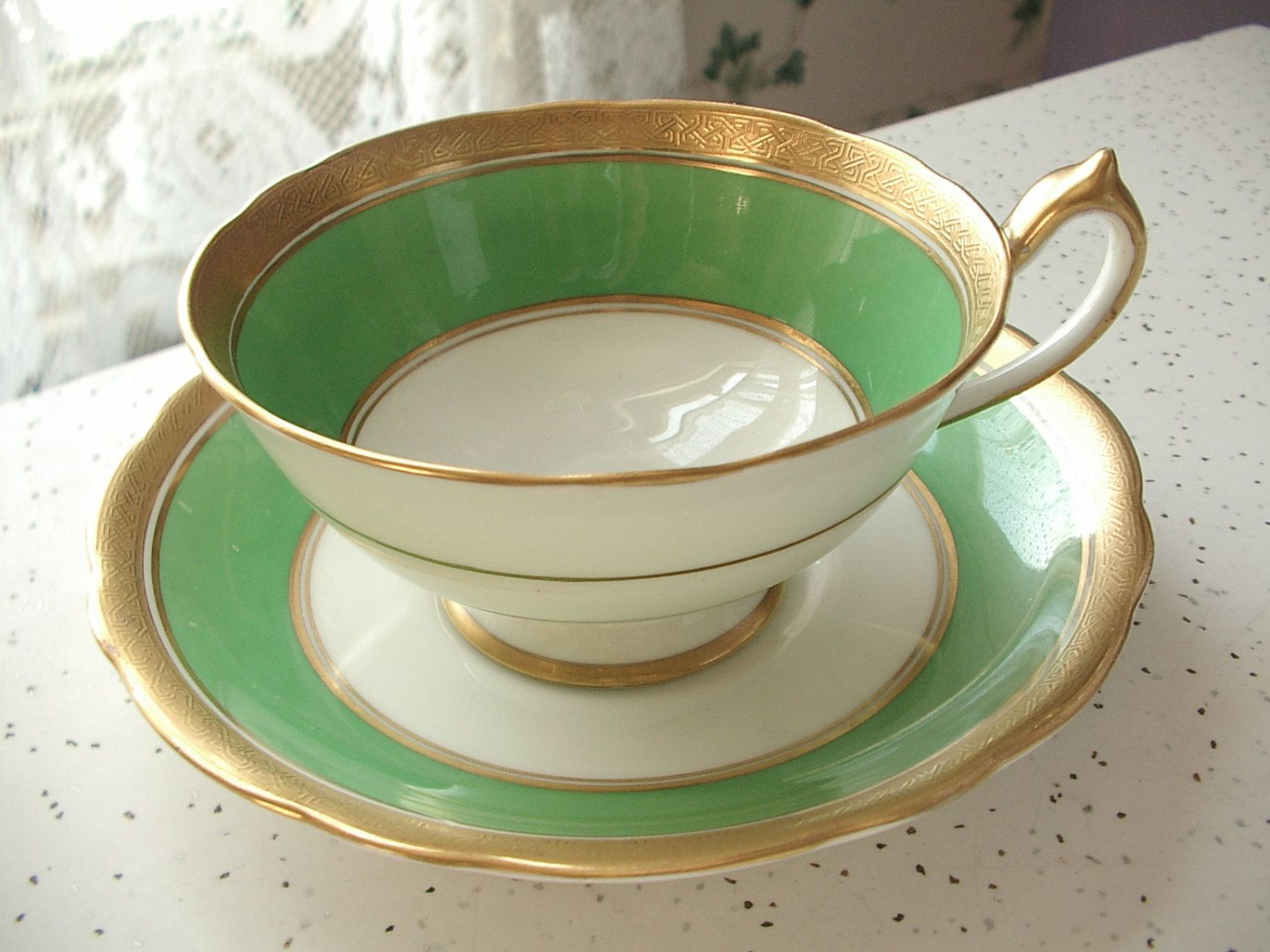 Antique green tea cup and saucer set vintage 1920 s star Paragon
