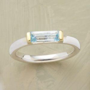 blue topaz baguette ring.