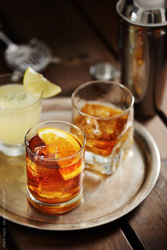 Vodka lemon, whiskey on the rocks and old fashioned