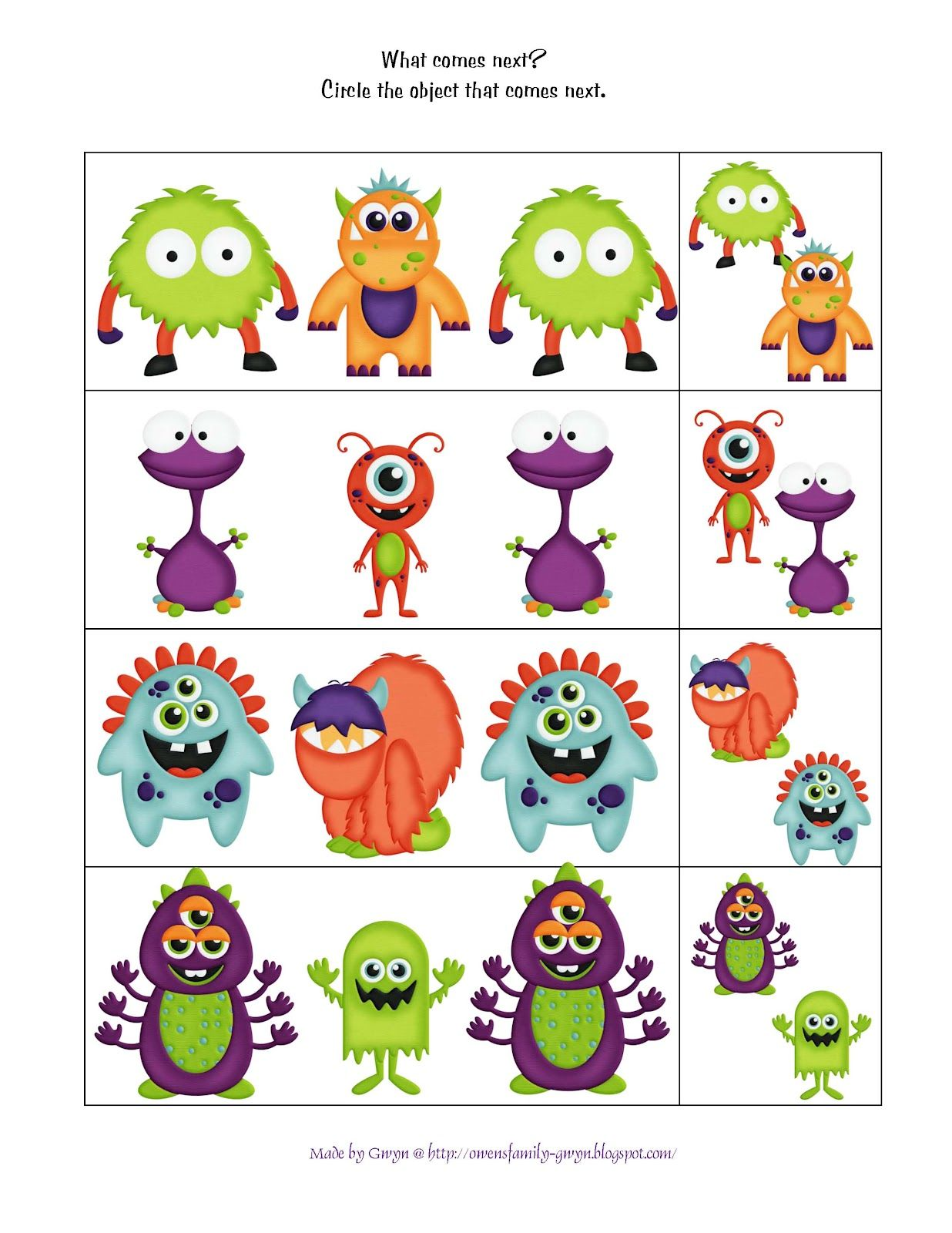 graphic regarding Printable Monster named Preschool Printables: Tiny Monsters Printable math