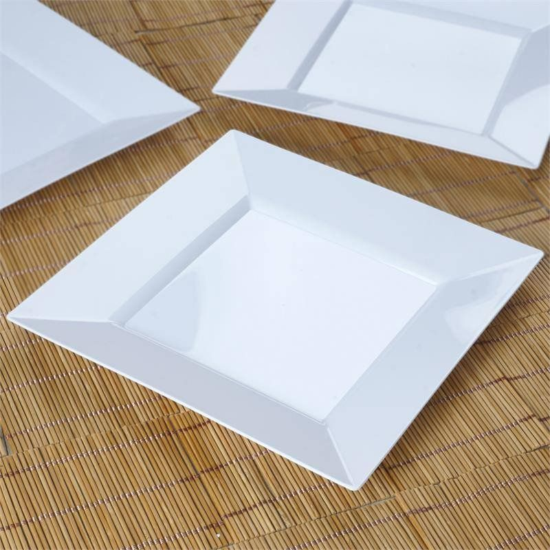 10 Pack - White 9.5  Square Disposable Plate - Partytown Plastics( Sold Out ) & 10 Pack 10