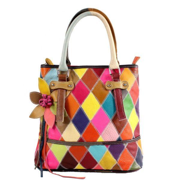 Fashion Women Cow Leather Patchwork Knitting Handbag Shoulder Bag ... 091fbd16c4
