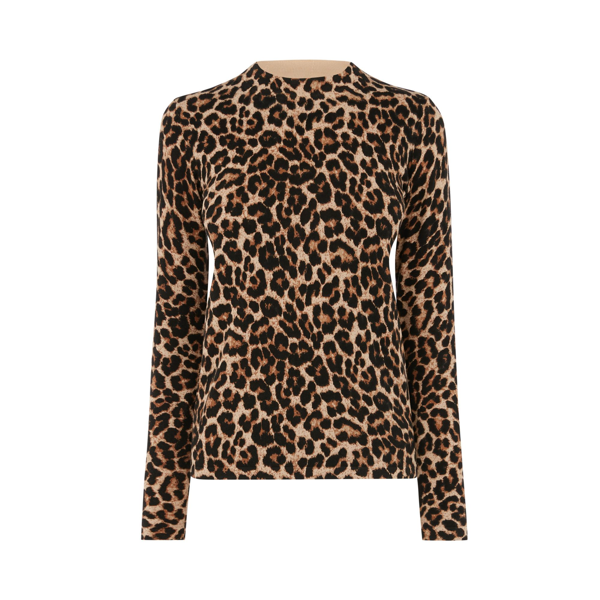 Warehouse Womens Animal Print Funnel Neck Jumper