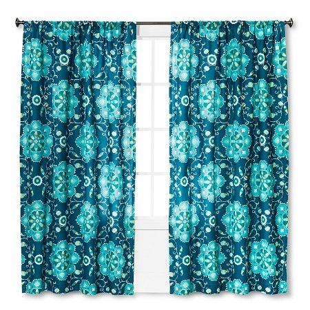 Mudhut Tamerin Teal Flower Window Panel Blue 55 Quot X84