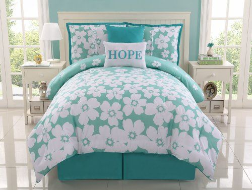 Best Amazon Com 5 Pc Aqua And White Reversible Floral Comforter Set Bed In A Bag Twin Size 400 x 300