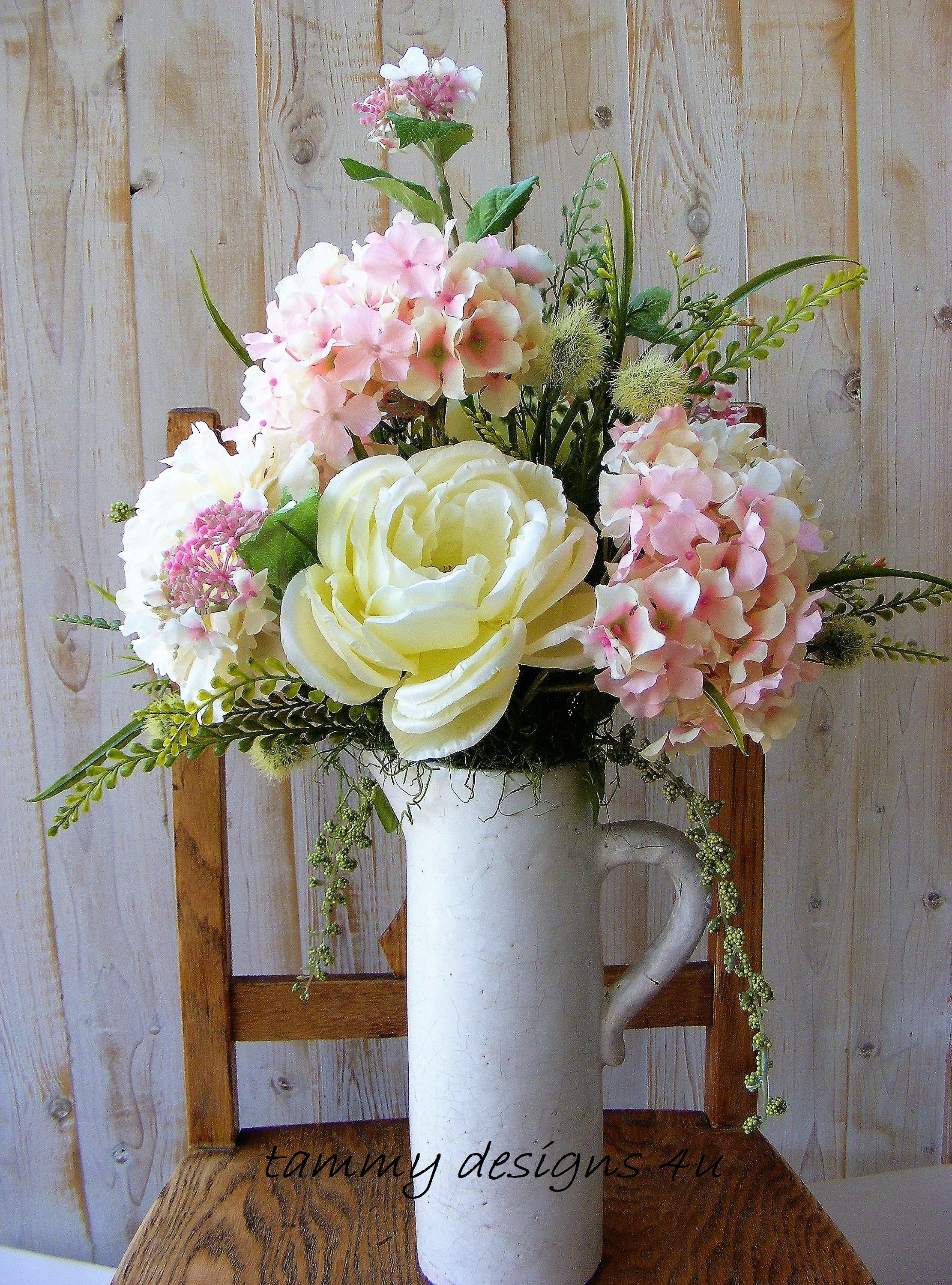 White Pitcher Silk Flower Arrangement Light Pink Hydrangea Cream