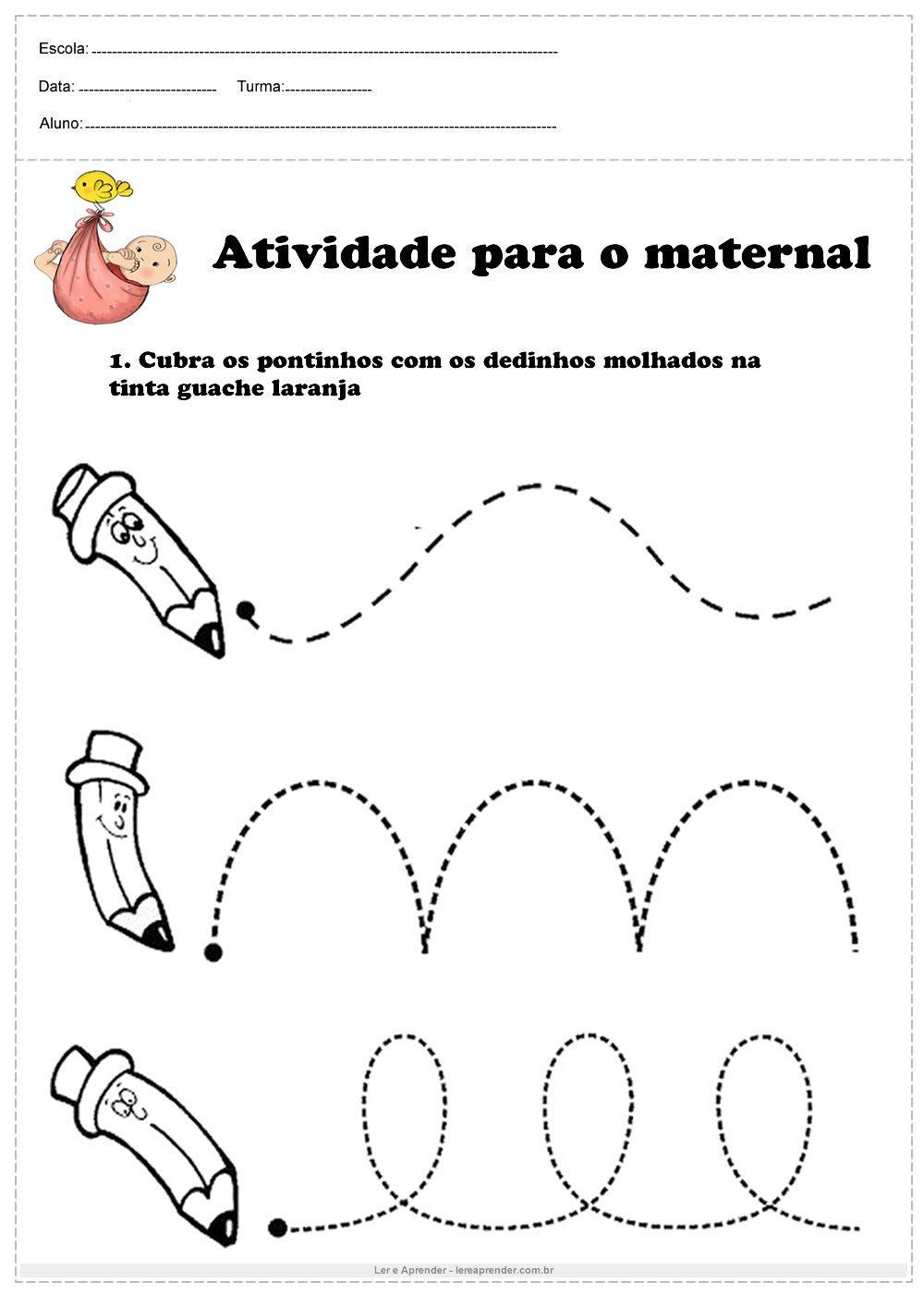 Atividade De Tracejado Para O Maternal Cubra Os Pontinhos Com